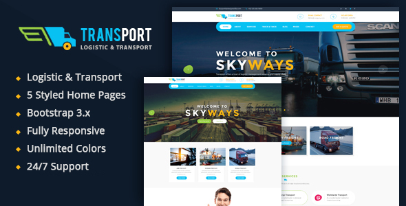 Extraordinary Transport - Logistics / Transportation Business HTML Template
