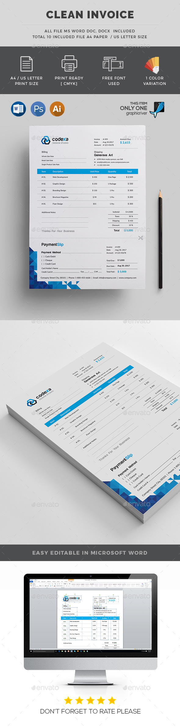 Modern Invoice - Stationery Print Templates