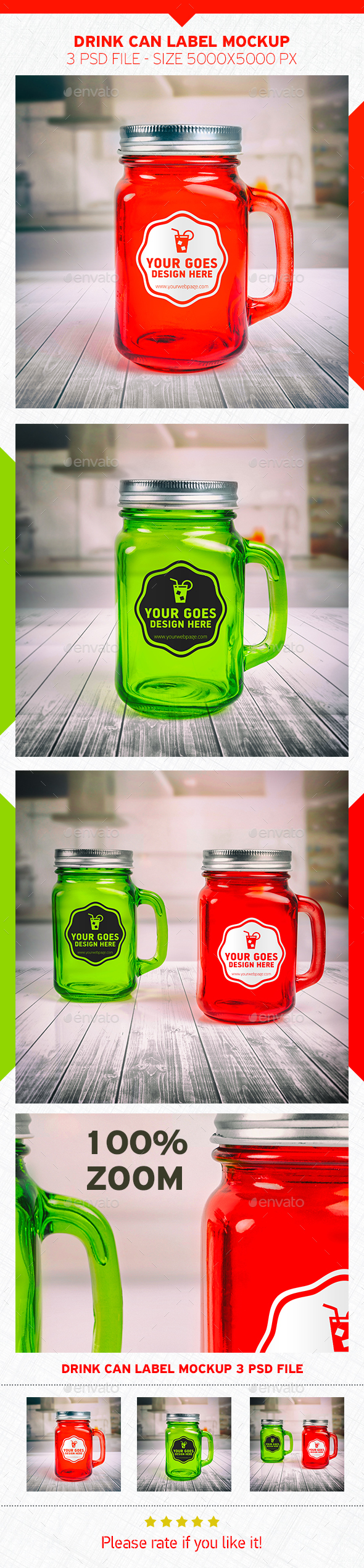 Drink Can Label Mockup - Food and Drink Packaging