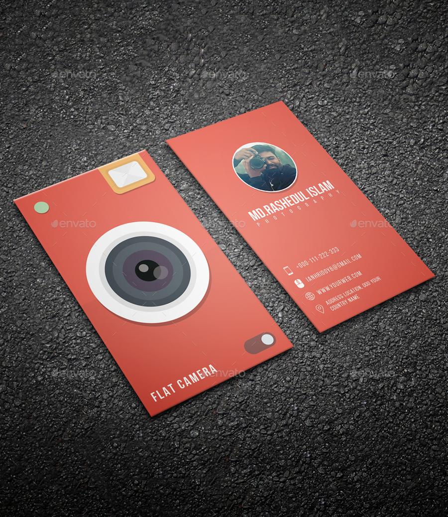 Flat camera business card by iamhridoy6 graphicriver flat camera business card colourmoves