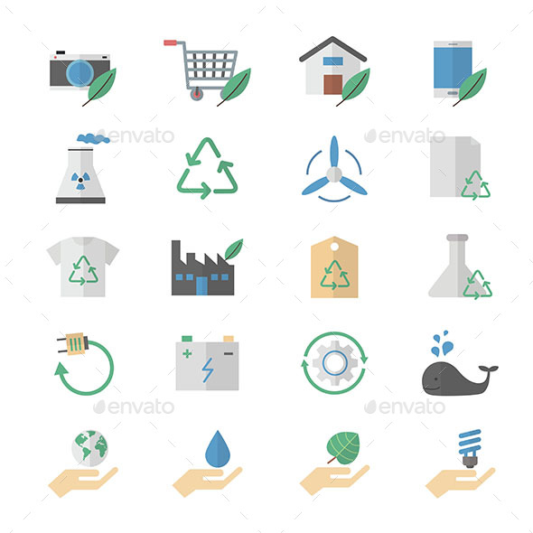 Flat Color Icons Design Set of Environment and Green, Ecology Icons - Icons
