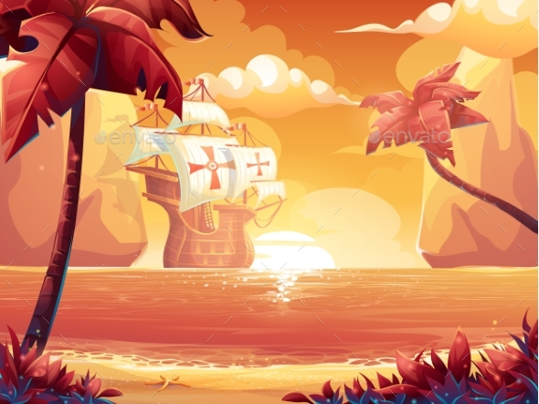 Galleon with Crimson Sun, Sunrise or Sunset - Landscapes Nature