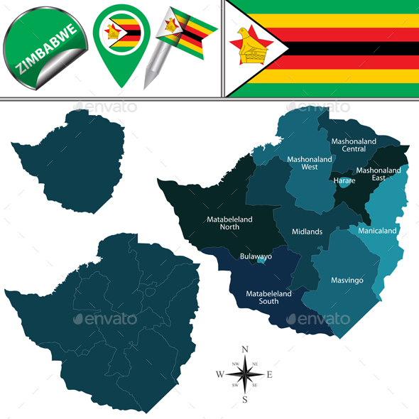 Map of Zimbabwe with Named Provinces - Travel Conceptual