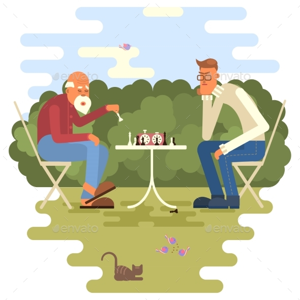 Men Playing Chess - People Characters