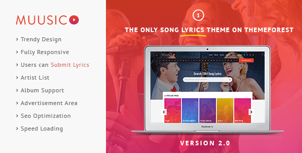 Muusico - Song Lyrics WordPress Theme
