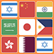 Flag Icons Asian Countries Squares Style - VideoHive Item for Sale