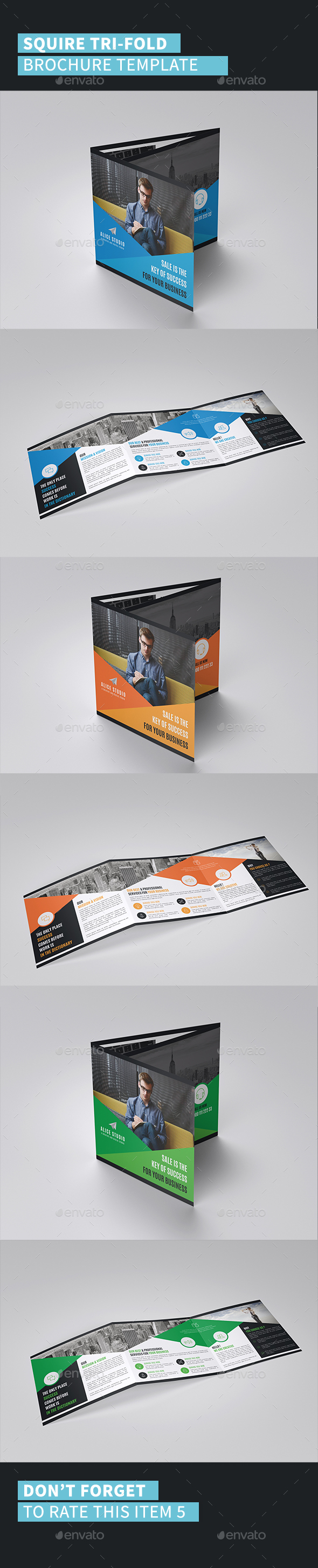 Squire Tri-Fold Brochure Template - Corporate Brochures