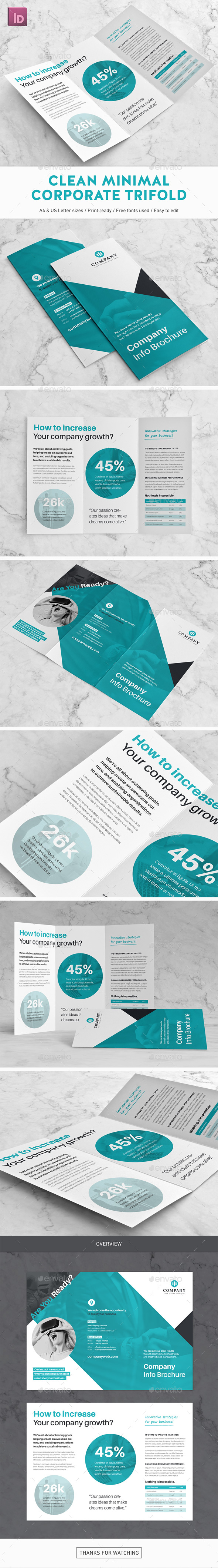 Clean Minimal Corporate Trifold Brochure - Corporate Brochures