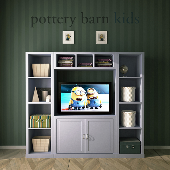 Pottery Barn, Preston Media Wall System - 3DOcean Item for Sale