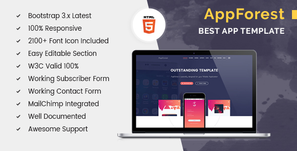 AppForest – HTML5 Apps Landing Template