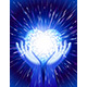 Heart Hand Light Beam Magic Power Love Background Blue