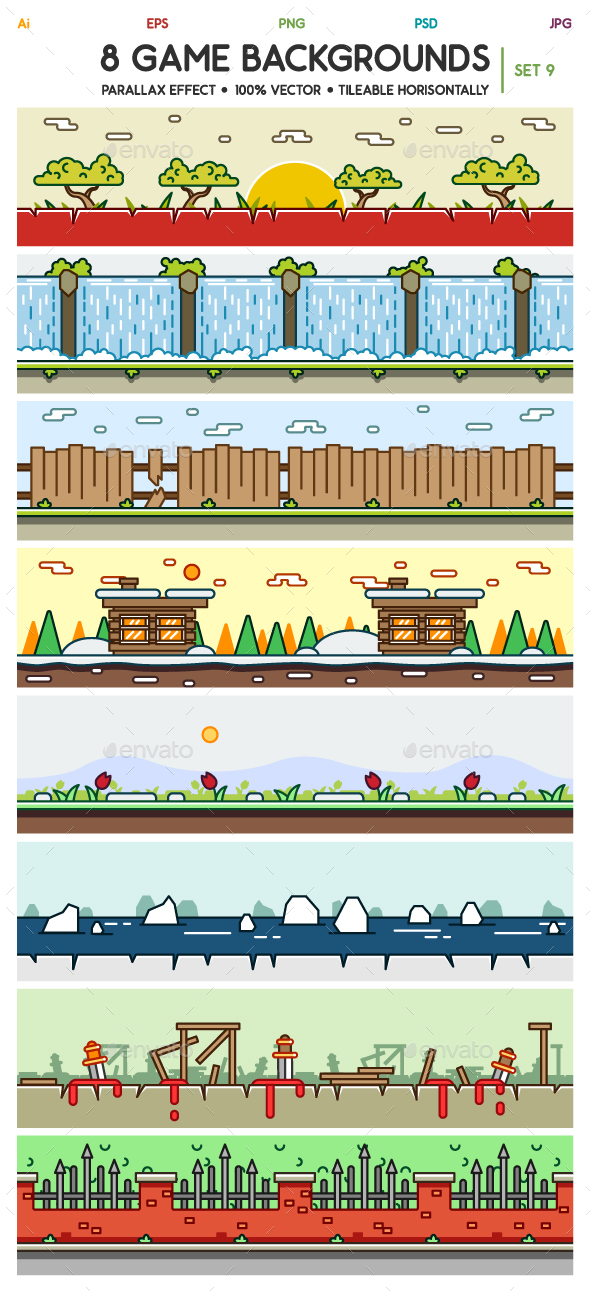 8 Game Backgrounds Set 9 - Backgrounds Game Assets