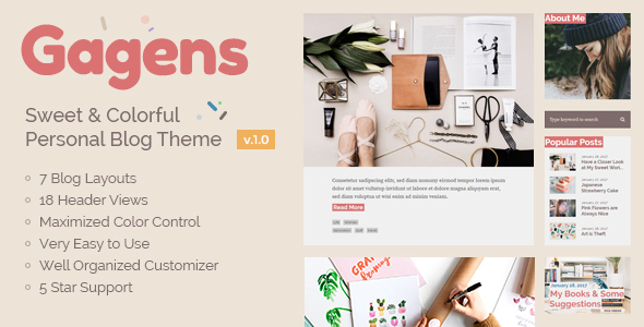 Gagens – Sweet & Colorful Personal Blog Theme