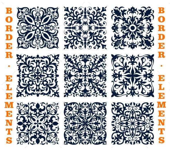 Tiles Borders of Floral Damask Vector Ornament - Decorative Symbols Decorative