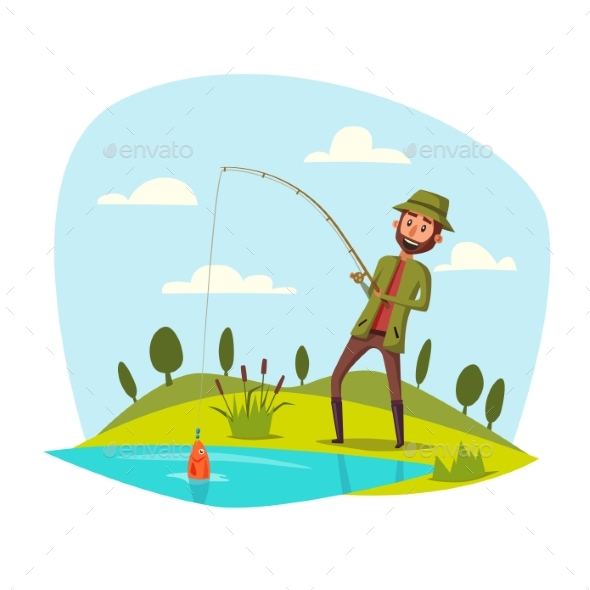 Man Fishing with Rod Catching Fish on Hook - Sports/Activity Conceptual