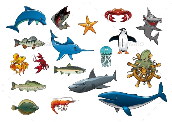 Sea Fish and Ocean Animals Cartoon Icons - Animals Characters