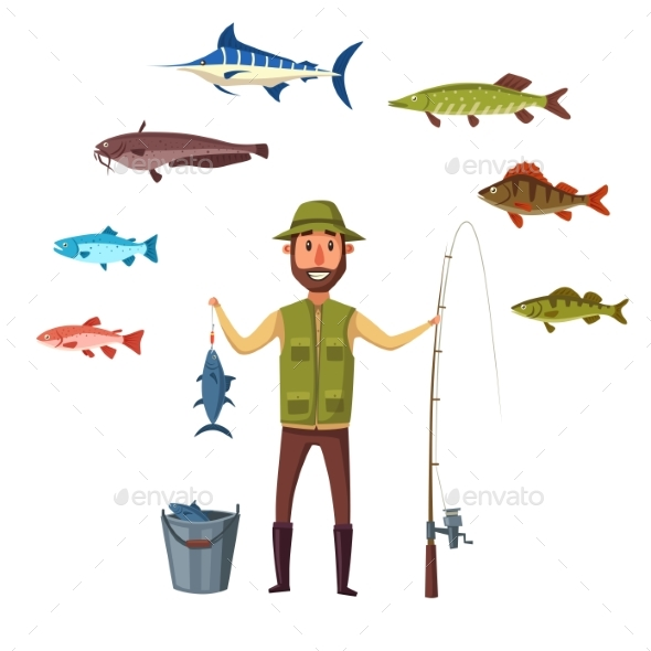 Fisher Man, Fish Catch of Isolated Vector Fishes - Sports/Activity Conceptual