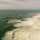 Big Waves on Sandy Beach of the Western Coast of Portugal Aerial