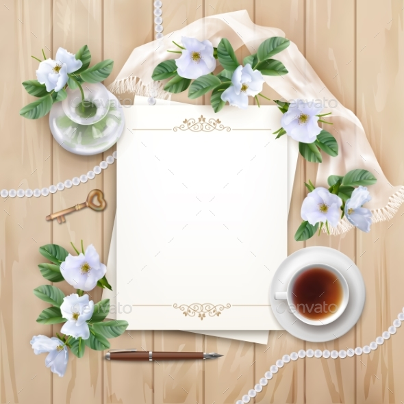 Top View Background with White Flowers - Weddings Seasons/Holidays