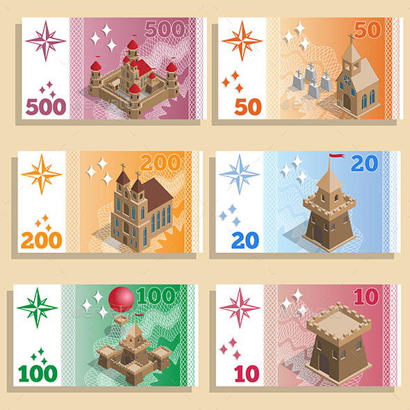 Set of Game Money with Architectural Structures - Buildings Objects