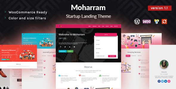 Moharram – Material Design Startup Landing WordPress Theme