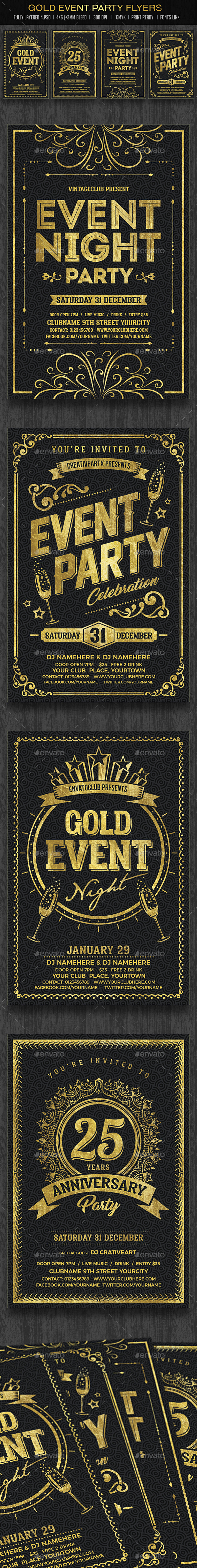 Gold Event Flyers Set - Events Flyers