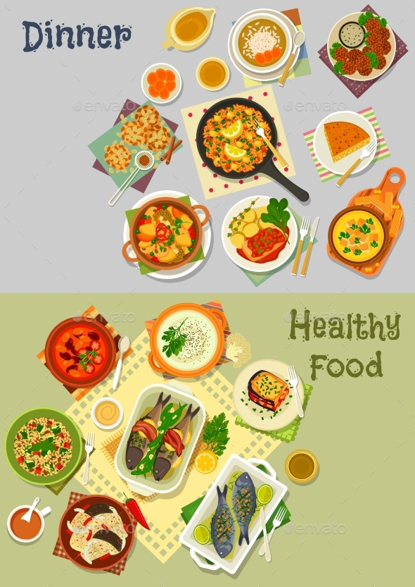 Healthy Vegetarian and Baked Fish Dishes Icon Set - Food Objects