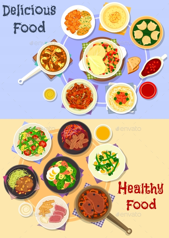 Tasty Dishes for Dinner Menu Icon Set Design - Food Objects