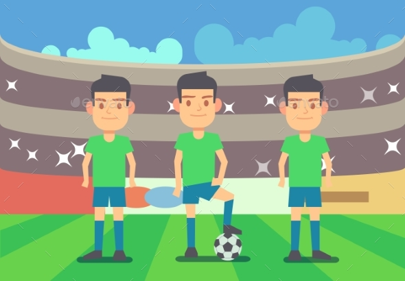 Football Soccer Players Vector Illustration - Sports/Activity Conceptual
