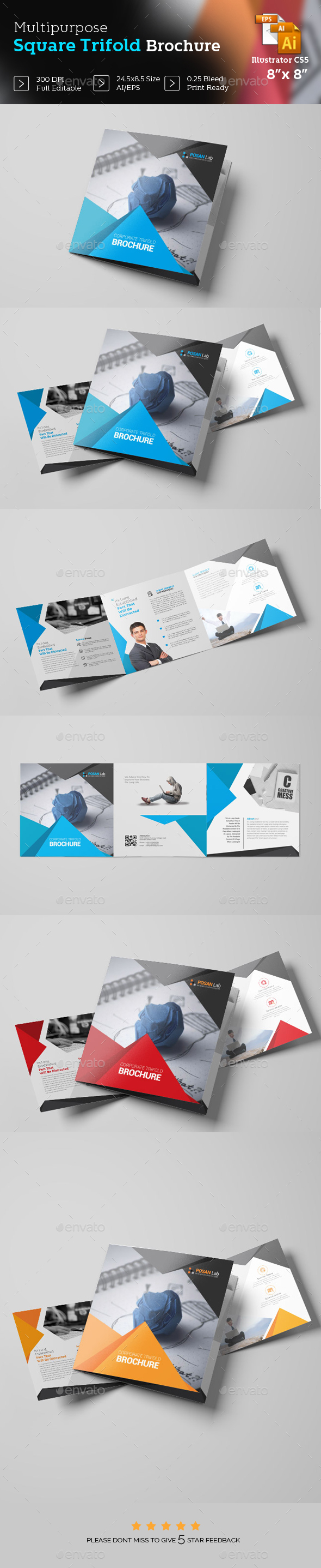 Square Trifold Brochure Template - Brochures Print Templates
