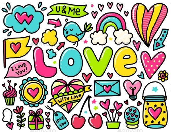 Doodle Valentines Elements - Valentines Seasons/Holidays