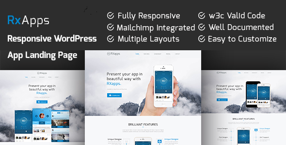 RxApps – Responsive WordPress App Landing Page