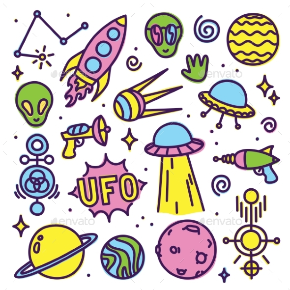 Hand Drawn Cartoon Alien Space Set - Backgrounds Decorative