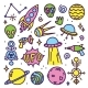 Hand Drawn Cartoon Alien Space Set - GraphicRiver Item for Sale