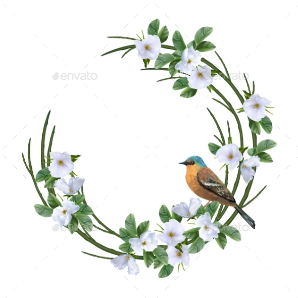 Floral Wreath and Bird - Flowers & Plants Nature