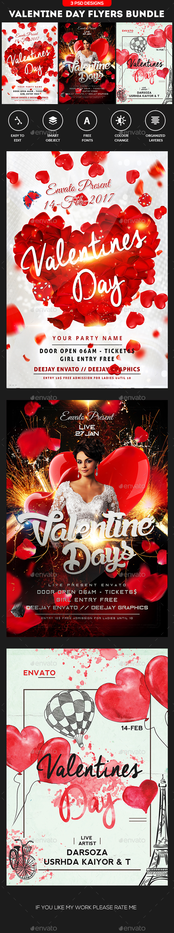 Valentine's Day Flyer Bundle - Clubs & Parties Events