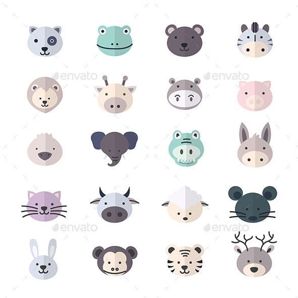 Animal Icon and Cartoon Pets Icon Style Colorful Flat Icons - Animals Characters