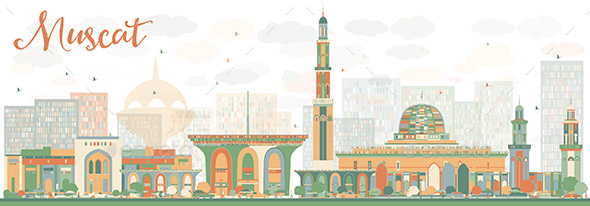Abstrac Muscat Skyline with Color Buildings - Buildings Objects