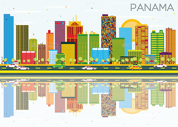Panama Skyline with Color Buildings - Buildings Objects