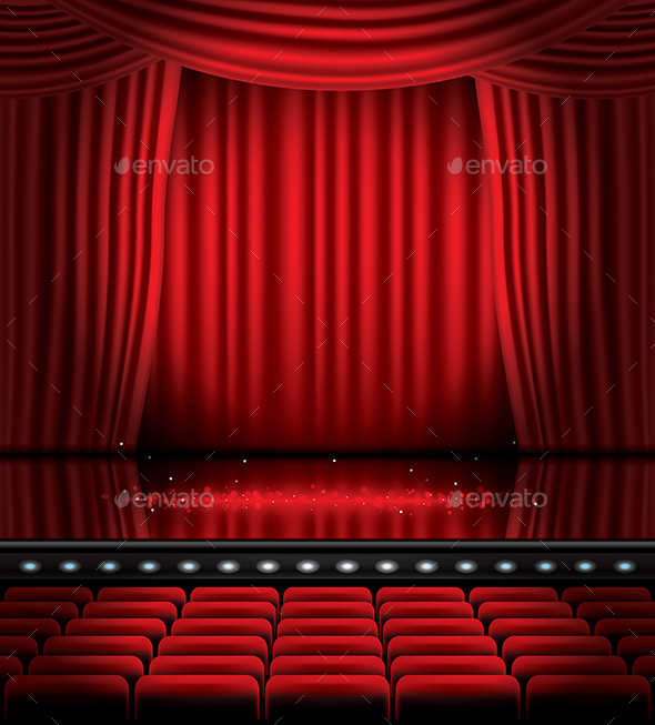 Open Red Curtains with Seats and Copy Space - Miscellaneous Vectors