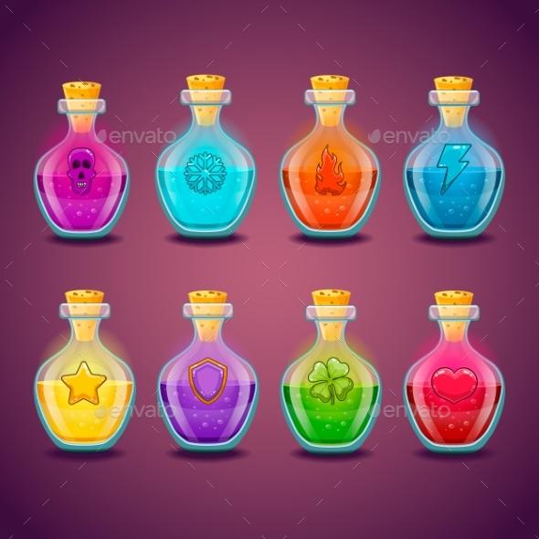 Set with Different Magic Elixir - Health/Medicine Conceptual