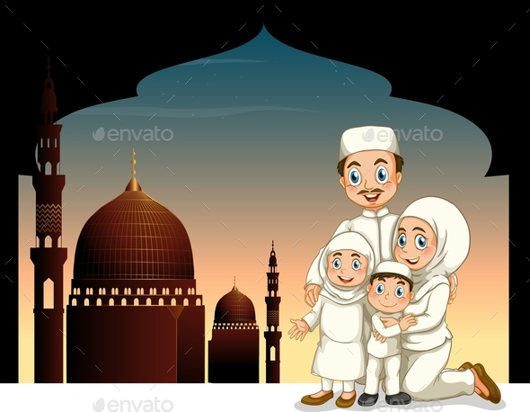 Muslim Family with Mosque Background - People Characters