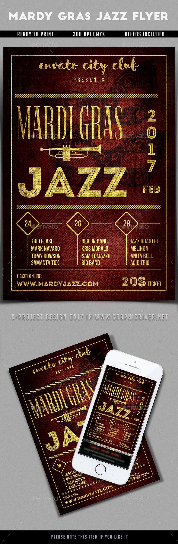 Mardi Gras Jazz Flyer - Events Flyers