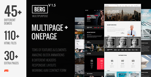 Berg - Multipurpose One Page & Multi Page Template - Corporate Site Templates