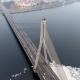 Aerial Winter View of Cable-stayed Bridge Over Daugava River in Riga Latvia. Vansu Bridge. - VideoHive Item for Sale
