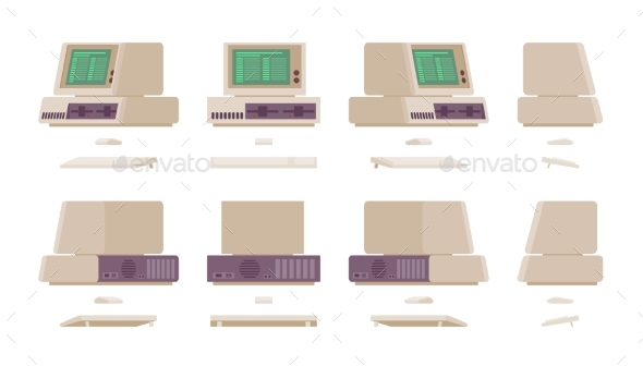 Set of Old Personal Computer - Computers Technology