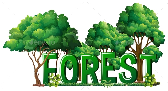 Font Design for Word Forest - Flowers & Plants Nature