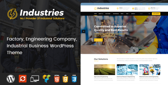 Industries - Factory, Engineering Company, Industrial Business WordPress Theme - Business Corporate