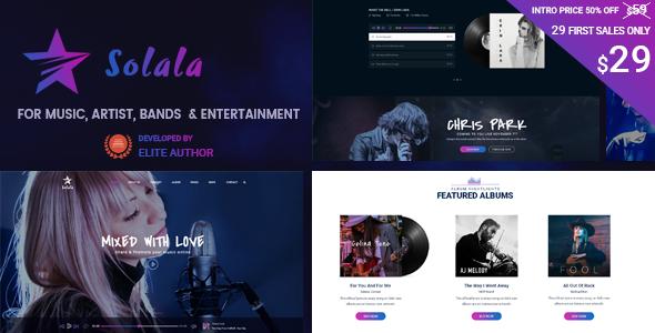 Solala Music WP   Entertainment, Band, Music WordPress Theme