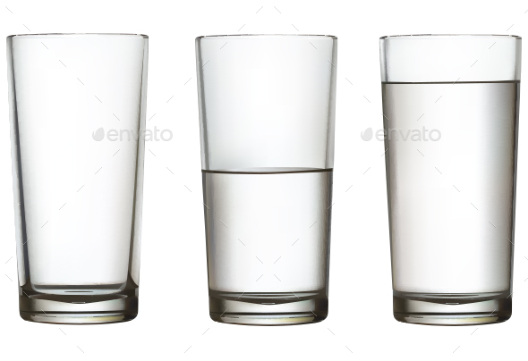Glass With Water on White Background - Food Objects